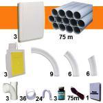 Kit 3 prises RETRAFLEX blanches nouvelle génération, 20% plus petit que le premier modèle! avec tuyaux pour flexible de 15m et 18m