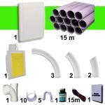 Aspiration centralisée EASY-CLEAN 400 garantie 5 ans + Set 9 m RETRAFLEX + 7 accessoires + kit 1 prise RETRAFLEX + kit prise balai (rayon d'action 90 m2)